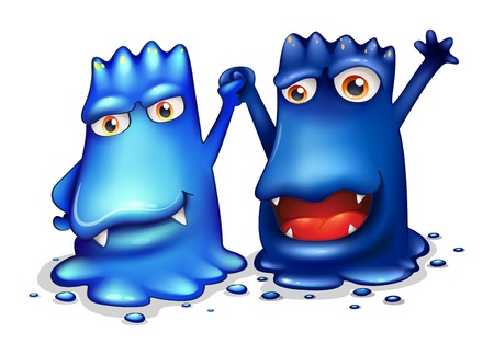 Illustration of the happy blue monsters in one team on a white background Vector