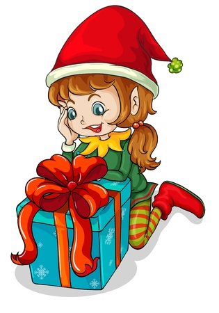 cartoon dwarf: Illustration of an elf beside a gift on a white background
