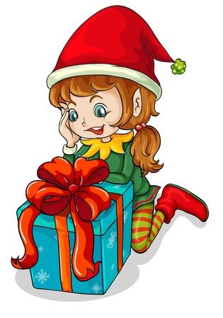 menina: Ilustração de um elfo ao lado de um presente em um fundo branco Ilustração