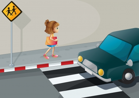 cemented: Illustration of a small girl walking along the street with a shoulder bag