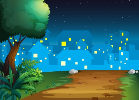 Illustration of a view of the village in the middle of the night Vector