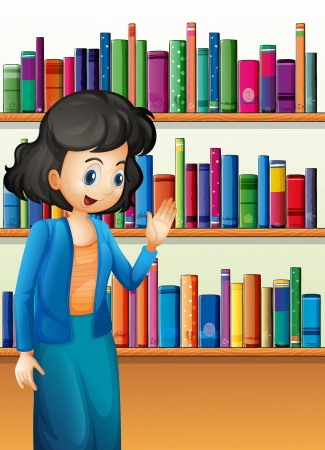 storyteller: Illustration of a librarian in front of the bookshelves with books