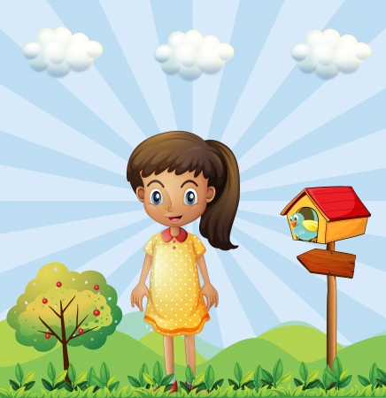 little girl dress: Illustration of a young girl with a yellow dress standing near the pethouse