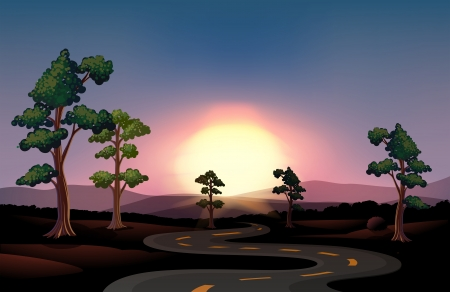 Illustration of a long and winding road going to the forest Vector