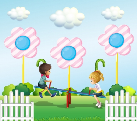 sugarcane: Illustration of the kids playing seesaw at the park Illustration