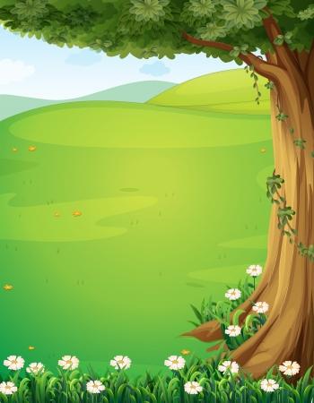 Illustratie van een uitzicht over de heuvels met een boom en bloemen