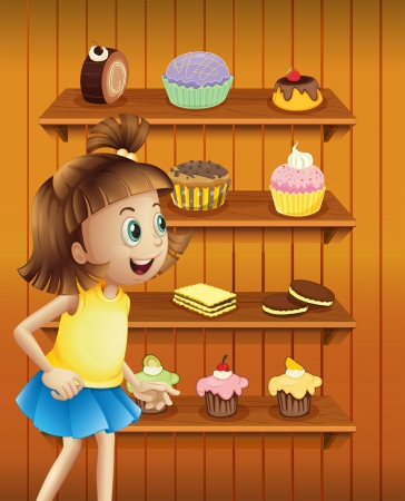 occassion: Illustration of a happy girl in front of the cupcakes and cookies