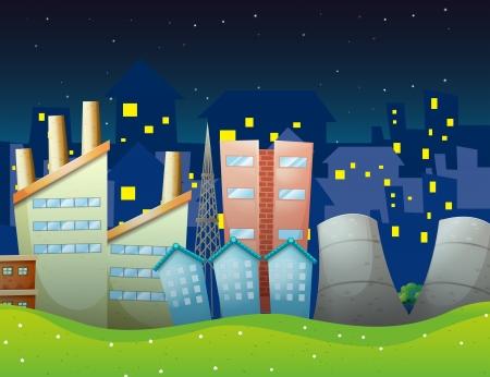 Illustration of the factories near the neighborhood Vector