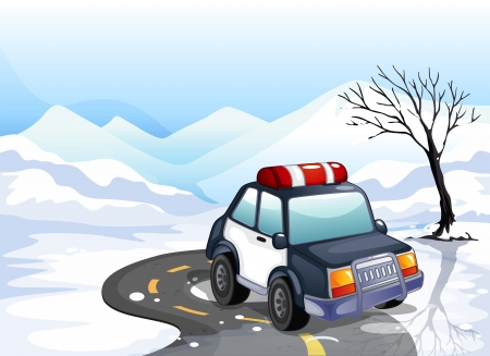 manmade: Illustration of a patrol car in the snowy land