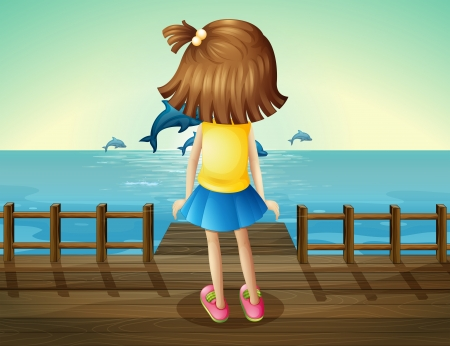 Illustration of a young girl watching the dolphins Vector