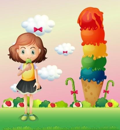 Illustration of a girl eating an icecream beside a giant icecream Vector