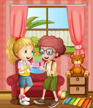 Illustration of a boy and a girl holding gifts inside the house Vector