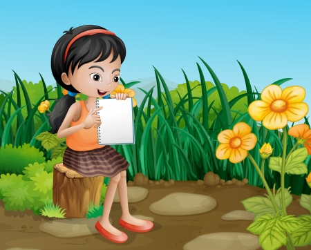 illegal logging: Illustration of a girl studying at the garden