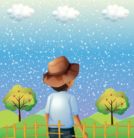 Illustration of a boy watching the sky Illustration