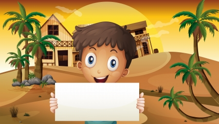 menu land: Illustration of a smiling boy at the desert with an empty signage