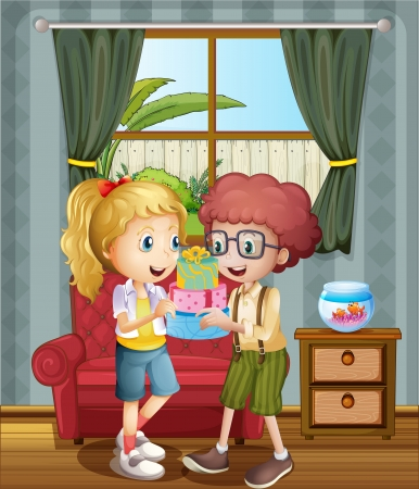 tied girl: Illustration of the two kids exchanging presents