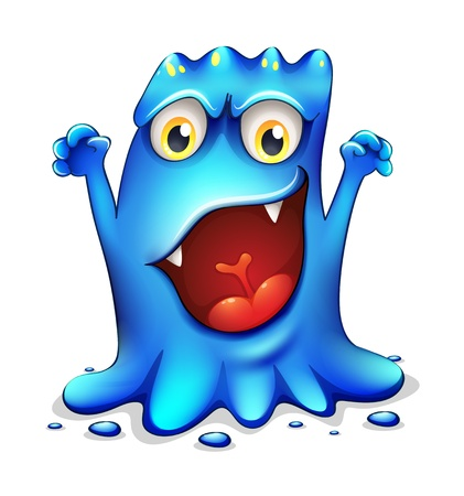 alien clipart: Illustration of a very angry blue monster on a white background Illustration