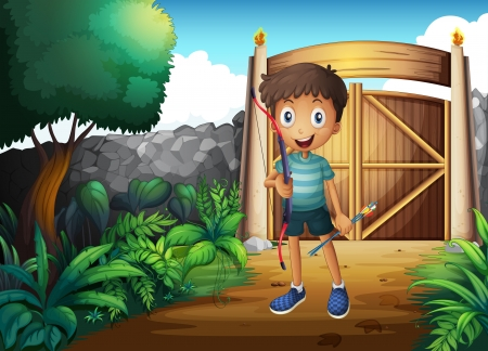 Illustration of a boy inside the gated yard with a bow and arrow Vector