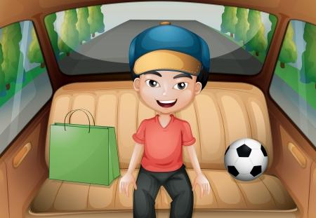 Illustration of a boy sitting inside a running car Vector