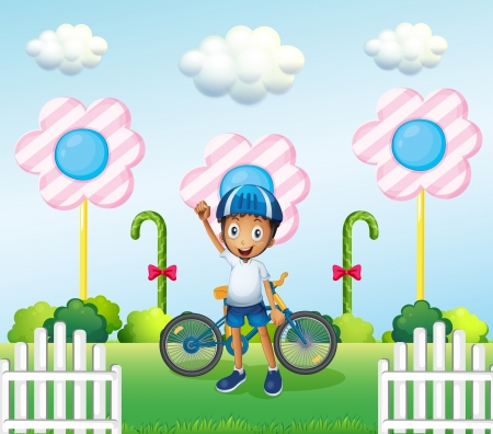Illustration of a happy boy at the candyland with his bike Vector