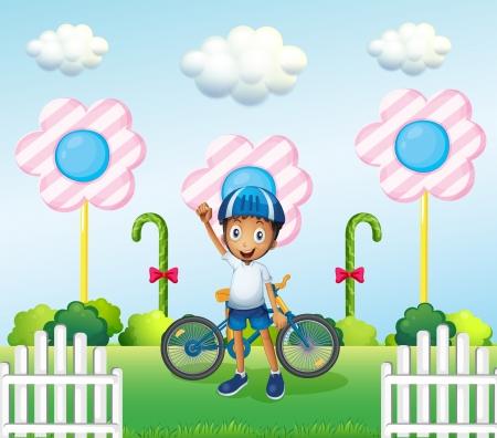 niños en bicicleta: Ilustración de un niño feliz en el candyland con su bicicleta Vectores
