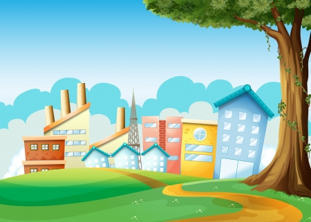 Illustration of the factories and high buildings across the hills Vector
