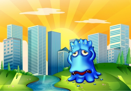 Illustration of a sad monster in the city standing near the flowing river Illustration