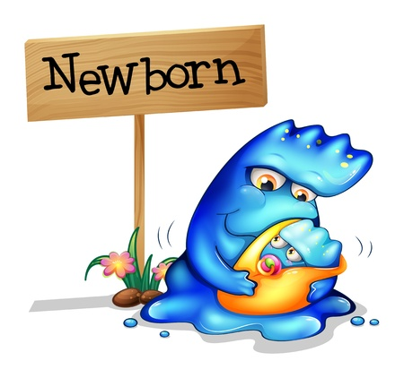 Illustration of a mother pacifying her newborn monster on a white background Vector