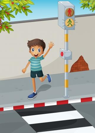 semaforo peatonal: Ilustración de un niño feliz agitando su mano cerca de la calle peatonal