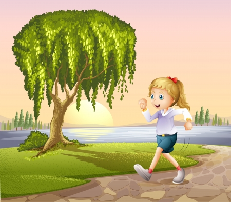 Illustration of a girl running at the street with a giant tree Vector