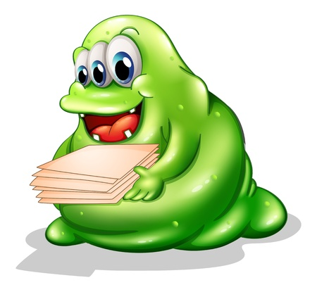 Illustration of a greenslime monster having a new job on a white background Vector