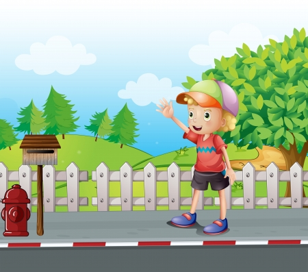 metal mailbox: Illustration of a young boy waving near the mailbox at the road