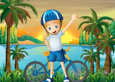Illustration of a happy girl and her bike at the riverbank Vector