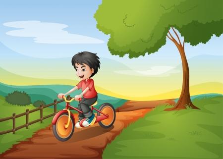 Illustration of a happy boy biking Vector