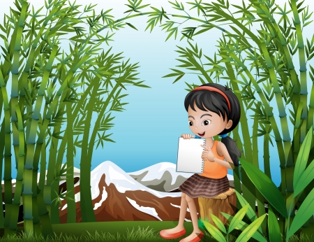 Illustration of a girl sitting above a stump at the bamboo forest Vector