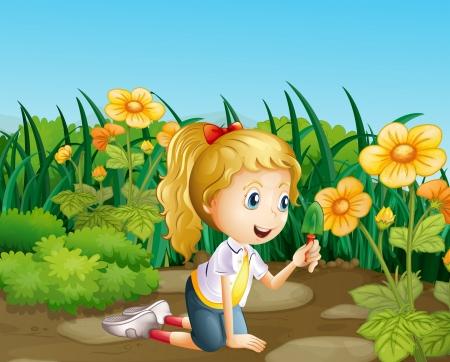 kneeling: Illustration of a girl in the garden holding a shovel