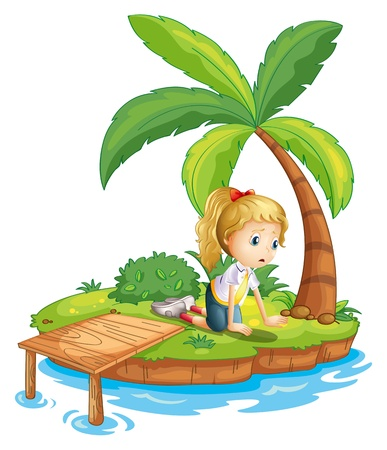 Illustration of a sad girl in the island watching the water on a white background