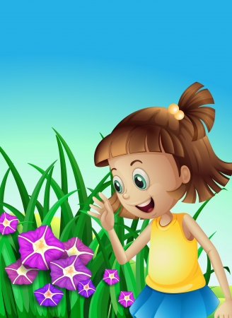 Illustration of a girl watching the violet flowers in the garden Illustration