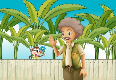 Illustration of an old man near the fence with a monkey Vector