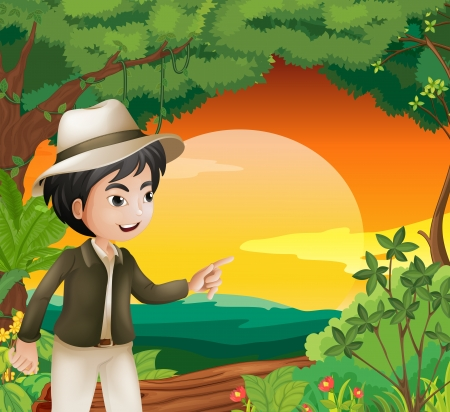 handsome young man: Illustration of a handsome young man in the forest