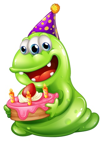 Illustration of a greenslime monster celebrating a birthday on a white background Illustration