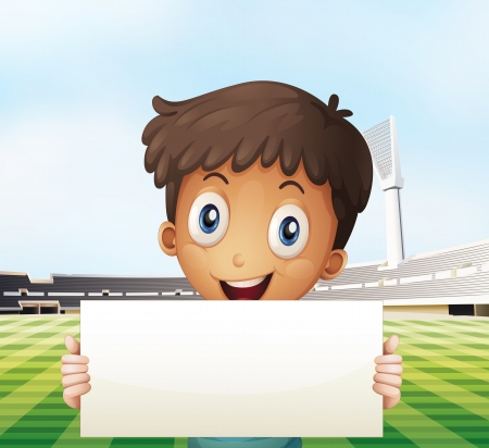 Illustration of a smiling boy holding an empty signage at the soccer field Vector