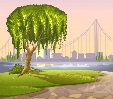 Illustration of an old giant tree across the high buildings