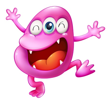 pinkish: Illustration of a very excited beanie monster on a white background