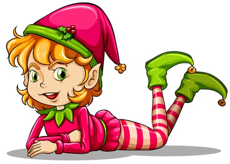 Illustration of a cute playful elf on a white background Illustration