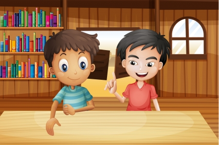 swingdoor: Illustration of the two boys inside the saloon bar with books Illustration
