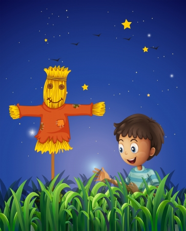 Illustration of a boy at the farm with a scarecrow Vector