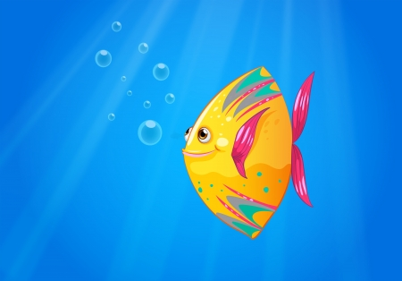 underwater fishes: Illustration of a smiling fish swimming
