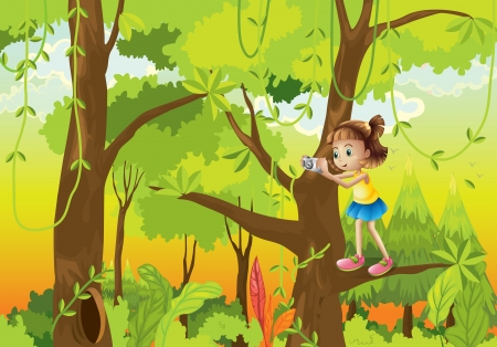 Illustration of a girl standing at the branch of a tree with a camera Vector