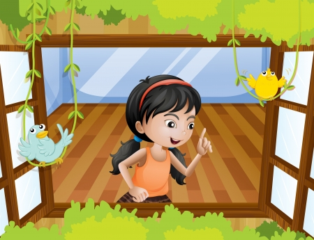 Illustration of a girl at the window with birds Illustration